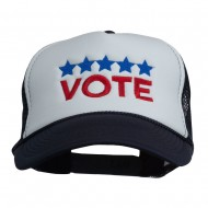 Vote with Stars Embroidered Foam Mesh Back Cap - Navy White
