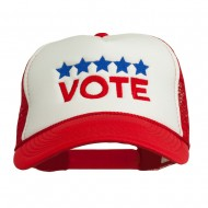 Vote with Stars Embroidered Foam Mesh Back Cap - Red White Red