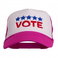 Vote with Stars Embroidered Foam Mesh Back Cap - Hot Pink White