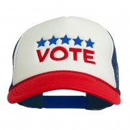 Vote with Stars Embroidered Foam Mesh Back Cap - Red White Royal