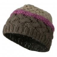 Woman's Knit Acrylic 3 Color Beanie - Brown Mix