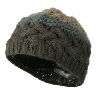 Woman's Knit Acrylic 3 Color Beanie - Grey Mix