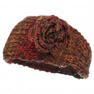Women's Flower Acrylic Knit Head Band - Rust