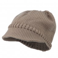 Woman's Knit Soft Beanie Visor - Taupe