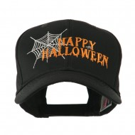 Happy Halloween with Spider Web Embroidered Cap - Black