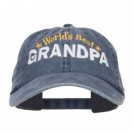 World's Best Grandpa Embroidered Washed Cap - Navy