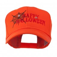 Happy Halloween with Spider Web Embroidered Cap - Orange