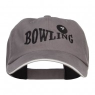 Bowling Ball Embroidered Canvas Cotton Cap - Grey White