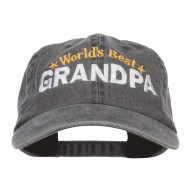 World's Best Grandpa Embroidered Washed Cap - Black