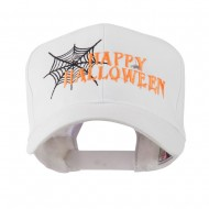 Happy Halloween with Spider Web Embroidered Cap - White