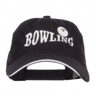 Bowling Ball Embroidered Canvas Cotton Cap - Black White