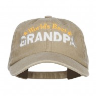 World's Best Grandpa Embroidered Washed Cap - Khaki