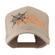 Happy Halloween with Spider Web Embroidered Cap - Khaki