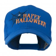 Happy Halloween with Spider Web Embroidered Cap - Royal