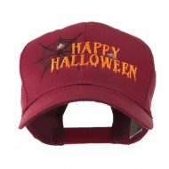 Happy Halloween with Spider Web Embroidered Cap - Maroon
