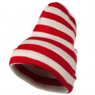Red White Wide Stripe Cuff Beanie - Red White