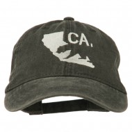 CA Map with Bear Embroidered Washed Cap - Black