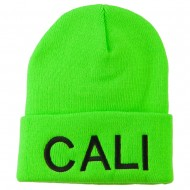 Cali Embroidered Neon Long Beanie - Green