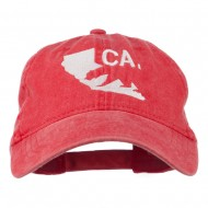 CA Map with Bear Embroidered Washed Cap - Red