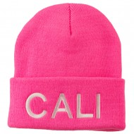 Cali Embroidered Neon Long Beanie - Pink