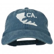 CA Map with Bear Embroidered Washed Cap - Navy