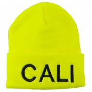 Cali Embroidered Neon Long Beanie - Yellow