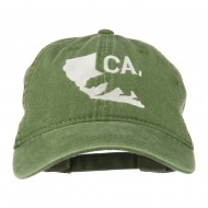 CA Map with Bear Embroidered Washed Cap - Olive Green