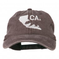 CA Map with Bear Embroidered Washed Cap - Brown