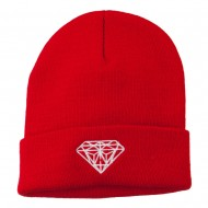 White Diamond Embroidered Long Cuff Beanie - Red