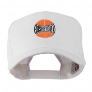 Basketball with Wording Inside Embroidered Cap - White