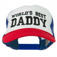 World's Best Daddy Embroidered Foam Mesh Back Cap - Red White Royal