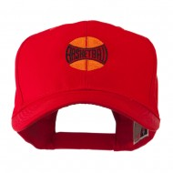 Basketball with Wording Inside Embroidered Cap - Red