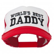 World's Best Daddy Embroidered Foam Mesh Back Cap - Red White Red