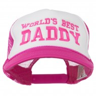 World's Best Daddy Embroidered Foam Mesh Back Cap - Hot Pink White