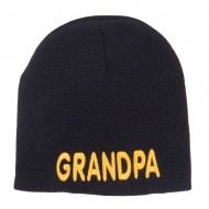 Word of Grandpa Embroidered Short Beanie - Black