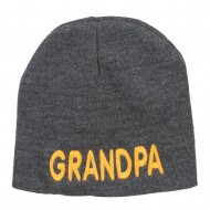 Word of Grandpa Embroidered Short Beanie - Dk Grey
