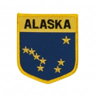 Western State Flag Embroidered Patch Shield - Alaska