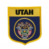 Western State Flag Embroidered Patch Shield - Utah