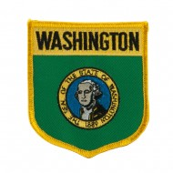 Western State Flag Embroidered Patch Shield - Washington