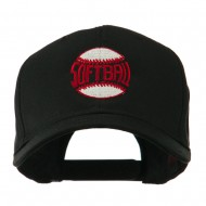 Softball Ball with Wording Inside Embroidered Cap - Black