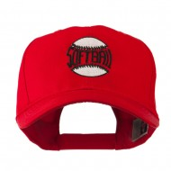 Softball Ball with Wording Inside Embroidered Cap - Red