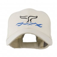 Whale Tail Outline Embroidered Cap - Stone