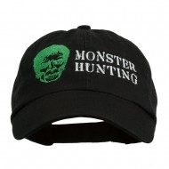 Halloween Monster Hunting Embroidered Washed Cap - Black