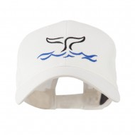 Whale Tail Outline Embroidered Cap - White