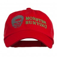 Halloween Monster Hunting Embroidered Washed Cap - Red