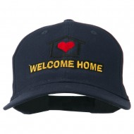 Welcome Home Embroidered Cotton Twill Cap - Navy