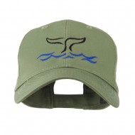 Whale Tail Outline Embroidered Cap - Olive