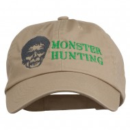 Halloween Monster Hunting Embroidered Washed Cap - Khaki