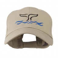 Whale Tail Outline Embroidered Cap - Khaki