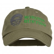 Halloween Monster Hunting Embroidered Washed Cap - Olive